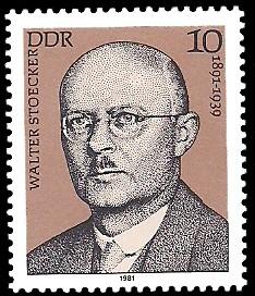 10 Pf Briefmarke: Verdienstvolle Persönlichkeiten der Arbeiterbewegung, Walter Stoecker