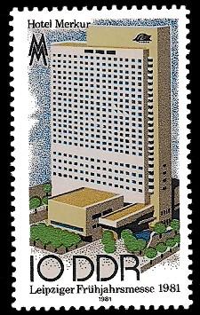10 Pf Briefmarke: Leipziger Frühjahrsmesse 1981, Hotel Merkur