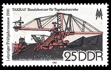 25 Pf Briefmarke: Leipziger Frühjahrsmesse 1981, TAKRAF Bandabsetzer