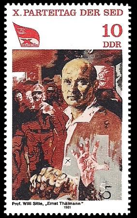 10 Pf Briefmarke: X. Parteitag der SED, Ernst Thälmann