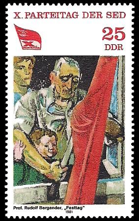 25 Pf Briefmarke: X. Parteitag der SED, Festtag