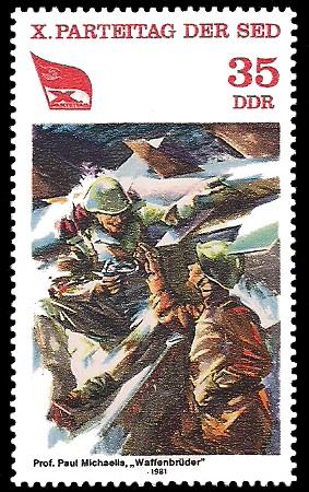 35 Pf Briefmarke: X. Parteitag der SED, Waffenbrüder