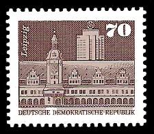 70 Pf Briefmarke: Sozialistischer Aufbau in der DDR, Leipzig
