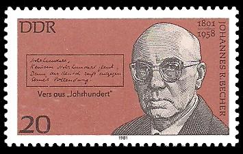 20 Pf Briefmarke: Bedeutende Persönlichkeiten, Johannes R. Becher
