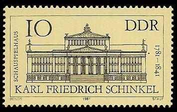 10 Pf Briefmarke: 200. Geburtstag F. Schinkel, Schauspielhaus in Berlin