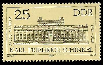 25 Pf Briefmarke: 200. Geburtstag F. Schinkel, Altes Museum Berlin