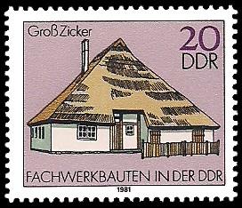 20 Pf Briefmarke: Fachwerkbauten in der DDR, Groß Zicker