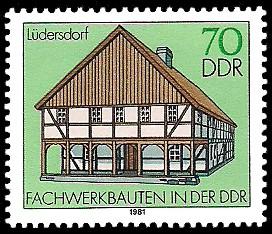 70 Pf Briefmarke: Fachwerkbauten in der DDR, Lüdersdorf