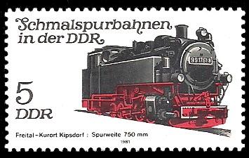5 Pf Briefmarke: Schmalspurbahnen in der DDR, Lok Freital-Kipsdorf