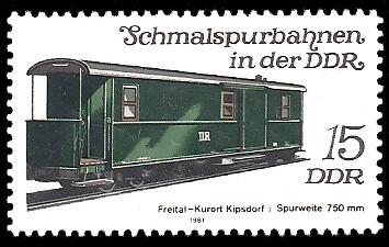 15 Pf Briefmarke: Schmalspurbahnen in der DDR, Packwagen Freital-Kipsdorf