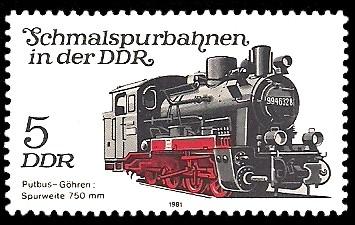 5 Pf Briefmarke: Schmalspurbahnen in der DDR, Lok Putbus-Göhren