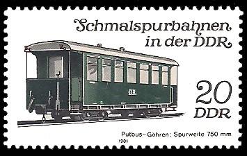 20 Pf Briefmarke: Schmalspurbahnen in der DDR, Personenwagen Putbus-Göhren