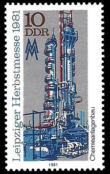 10 Pf Briefmarke: Leipziger Herbstmesse 1981, Chemieanlagenbau