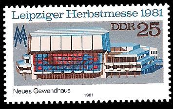 25 Pf Briefmarke: Leipziger Herbstmesse 1981, Neues Gewandhaus