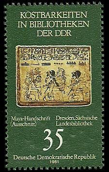 35 Pf Briefmarke: Kostbarkeiten in Bibliotheken der DDR, Maya-Handschrift