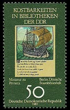 50 Pf Briefmarke: Kostbarkeiten in Bibliotheken der DDR, Miniatur zu Petrarca