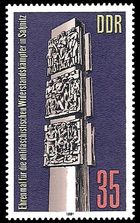 35 Pf Briefmarke: Ehrenmal in Saßnitz