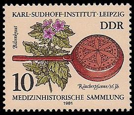 10 Pf Briefmarke: Medizinhistorische Sammlung - Karl-Sudhoff-Institut Leipzig, Bilsenkraut u Räucherpfanne
