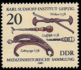 20 Pf Briefmarke: Medizinhistorische Sammlung, Pelikan, Geißfüße, Zahnzange