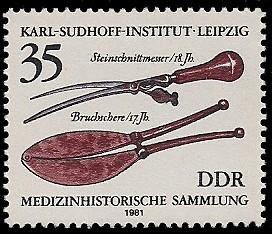 35 Pf Briefmarke: Medizinhistorische Sammlung, Steinschnittmesser u Bruchschere
