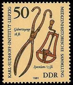 50 Pf Briefmarke: Medizinhistorische Sammlung, Karl-Sudhoff-Institut Leipzig, Geburtszange