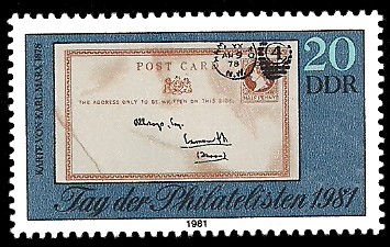 20 Pf Briefmarke: Tag der Philatelisten 1981, Karte v Karl Marx