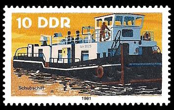 10 Pf Briefmarke: Binnenschiffe, Schubschiff
