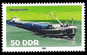 50 Pf Briefmarke: Binnenschiffe, Motorgüterschiff