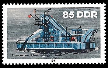 85 Pf Briefmarke: Binnenschiffe, Schwimmbagger