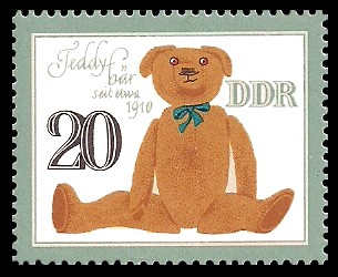 20 Pf Briefmarke: Historisches Spielzeug, Tiere, Teddybär