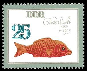 25 Pf Briefmarke: Historisches Spielzeug, Tiere, Badefisch