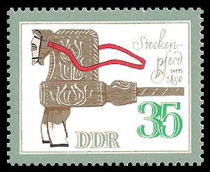35 Pf Briefmarke: Historisches Spielzeug, Tiere, Steckenpferd