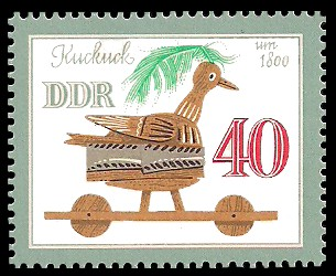 40 Pf Briefmarke: Historisches Spielzeug, Tiere, Kuckuck