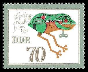 70 Pf Briefmarke: Historisches Spielzeug, Tiere, Springfrosch