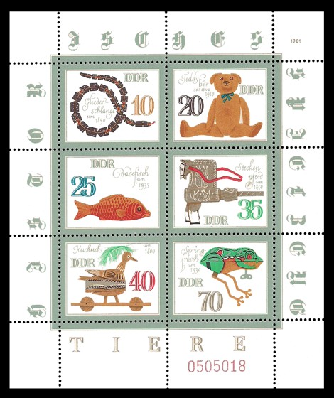 Briefmarke: Kleinbogen - Historisches Spielzeug, Tiere