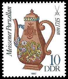 10 Pf Briefmarke: Meissener Porzellan, Kaffeekanne