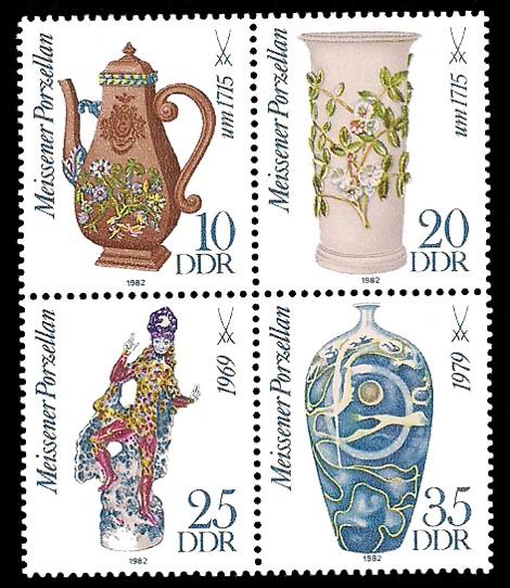 Briefmarke: Viererblock - Meissener Porzellan