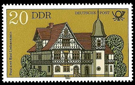 20 Pf Briefmarke: Bauten der Deutschen Post, Postamt Bad Liebenstein