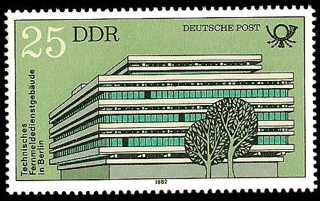 25 Pf Briefmarke: Bauten der Deutschen Post, Technisches Fernmeldedienstgebäude Berlin