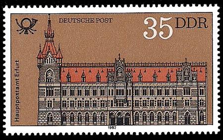 35 Pf Briefmarke: Bauten der Deutschen Post, Hauptpostamt Erfurt