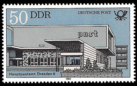50 Pf Briefmarke: Bauten der Deutschen Post, Hauptpostamt Dresden 6