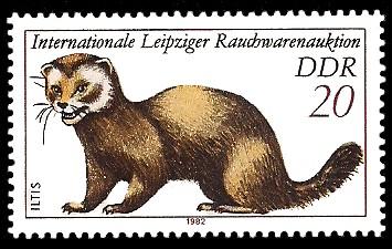 20 Pf Briefmarke: Internationale Leipziger Rauchwarenauktion, Iltis