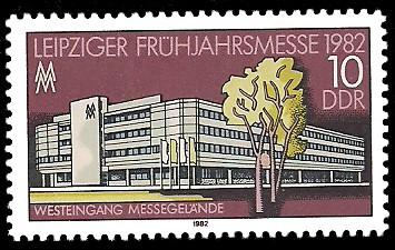 10 Pf Briefmarke: Leipziger Frühjahrsmesse 1982, Westeingang Messegelände