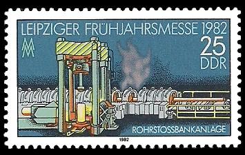 25 Pf Briefmarke: Leipziger Frühjahrsmesse 1982, Rohrstossbankanlage