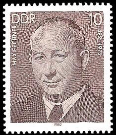10 Pf Briefmarke: Verdienstvolle Persönlichkeiten der Arbeiterbewegung, Max Fechner