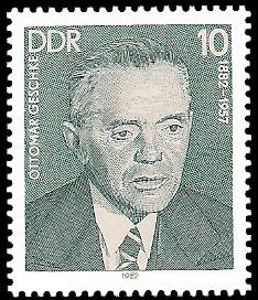 10 Pf Briefmarke: Verdienstvolle Persönlichkeiten der Arbeiterbewegung, Ottomar Geschke