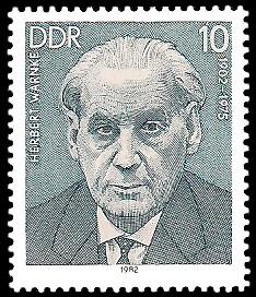 10 Pf Briefmarke: Verdienstvolle Persönlichkeiten der Arbeiterbewegung, Herbert Warnke