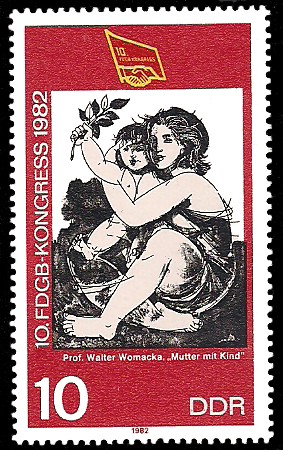 10 Pf Briefmarke: 10. FDGB - Kongress