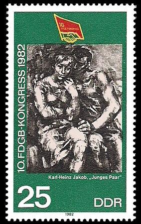 25 Pf Briefmarke: 10. FDGB - Kongress