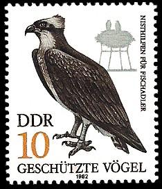 10 Pf Briefmarke: Geschützte Vögel, Fischadler